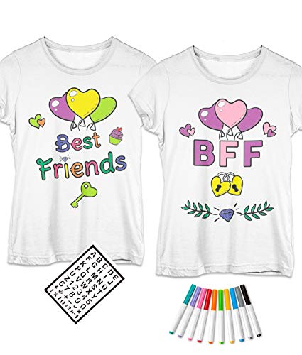 Two Coloring Shirts for Girls + Fabric Markers - Design Options: Unicorn | Birthday | Mermaid | Best Friends (Youth X-Small, Best Friends)