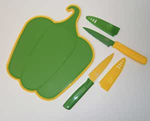 Kuhn Rikon Paring Knife Set With Green Pepper Cutting Board