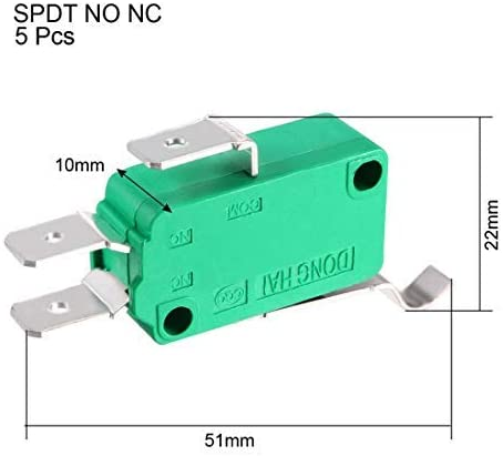 250VAC Lever Type R Simulated SPDT NO NC Micro Limit Switches 5PCS KW3-OZ-4 16A 125