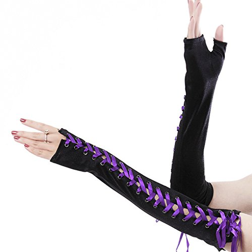 Satin Long Fingerless Lace up Gloves Arm Warmer Halloween Party Holiday Costume