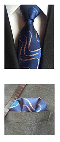 MENDENG Men's Brown Purple Geometric Print Silk Ties Wedding Tie Hanky 2 Pcs Set
