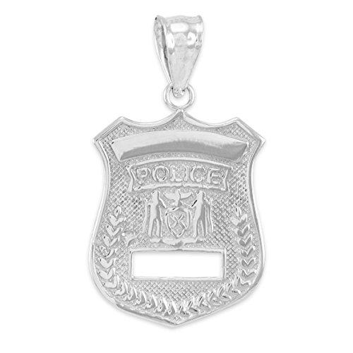 10 ct 471/1000 Or Blanc-Police-Insigne- Pendentif