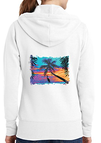 Womens Neon Sunset Full Zip Hoodie, White, 4X