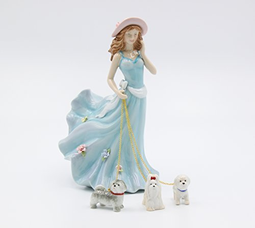 Cosmos Gifts 20928 Fine Porcelain Lady Walking Dogs Figurine, 7-7/8