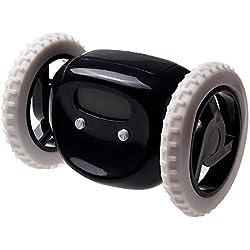 LCD Display Running Alarm Clock, Black Runaway Clock on Wheels for Heavy Sleepers, Funny & Decorative, By Creatov