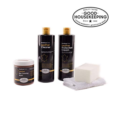 Furniture Clinic Leather Complete Restoration Kit - Set Includes Leather Recoloring Balm, Protection Cream, Cleaner, Sponge and Cloth - Restore and Repair Sofas, Car Seats and More (Bordeaux) (Best Leather Restoration Products)
