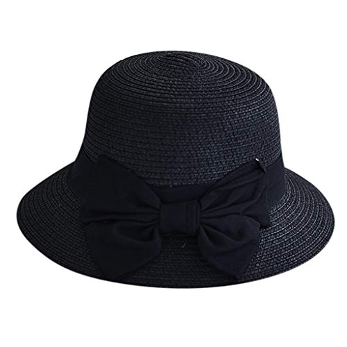 Suma-ma Women Floppy Foldable Straw Hats,Ladies Outdoor Casual Solid Wide Brimmed Visor Fisherman Hat(Black,One Size)