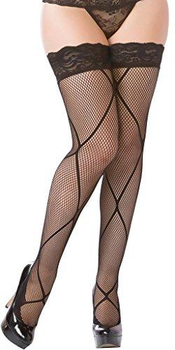 - Sexy Big Money Diamond Design Fishnet Stockings - Black - One Size Fits Most