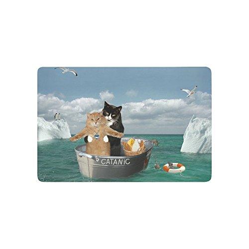 """InterestPrint Funny Catanic Two Cats Cosplay Titanic Doormat Anti-Slip Entrance Mat Floor Rug Indoor/Outdoor/Front Door Mat Home Decor, Rubber Backing 23.6""""(L) x 15.7""""(W)"""