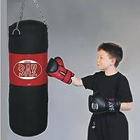 BAY® BOXSET Kidsset für TEENS 9 Kilo gefüllt 85x28 cm, Box-Set Sandsack Boxsack + Boxhandschuhe, Kinder Kids Junior Teens, schwarz/rot, fertig + Stahlkette, Box Set Kids Set Kinderset Boxen Box Handschuhe