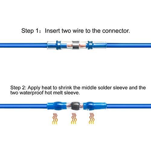 Joypea 120PCS Solder Seal Wire Connectors,Heat Shrink Butt Connectors,Automotive Marine Waterproof Solder Copper Wire Connectors,(20White 50Red 40Blue 10Yellow) (White)