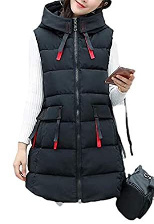 Macondoo Women Fashion Puffer Waistcoat Hoodie Quilted Cotton-Padded Vest Black S