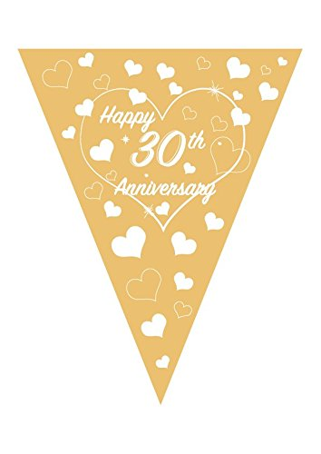 30th Wedding Anniversary Bundle Pack - Includes Gold/White Love Heart Bunting, Happy Anniverdary Confetti and 30th Pearl Banner (Bunting) Pennys Party Shop