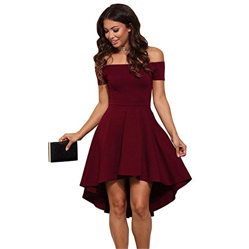 Haroty Vestidos de Fiesta de Noche de Mujer Color Sólido Vestidos Ajustados Asimetricos Vestido Invitada Boda Verano Vestido Plisado Strapless: Amazon.es: ...