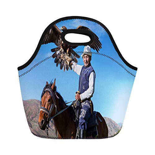 Semtomn Lunch Bags Falconry Issyk Kul Kyrgyzstan May 29 Golden Eagle Trainer Neoprene Lunch Bag Lunchbox Tote Bag Portable Picnic Bag Cooler - Eagle Mongolian
