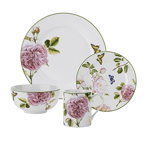 Garden 10.5' Dinner Plate - Roses 16 Piece Dinnerware Set, Porcelain Dinnerware Set