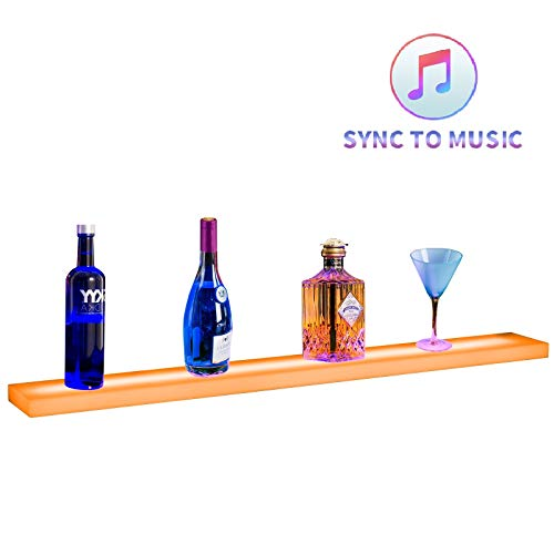 Nurxiovo 36 inches Lighted Liquor Bottle Display Shelf Sound-Activated LED Bar Shelf Stand Illuminated Music-Activated Home and Commercial Bar Wall-Mounted Racks with RF Remote Control]()