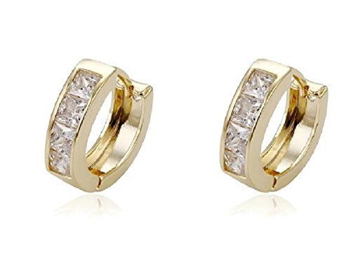 Elegant Gold Plated 1/2 inch Cubic Zirconia Hoop Earrings (CZs in Two Colors) (Clear) Circular Cubic Zirconia Earrings