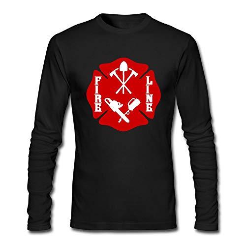Wildland Firefighter Fire Line Maltese Cross Shirt Men's Long Sleeve T-Shirt Tee Fashion Shirt Black