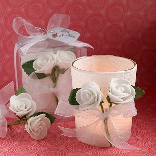 White Rose Candle Favors 36