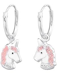 925 Sterling Silver Hypoallergenic Pink Sparkling Unicorn Head on Endless Hoop Earrings for Girls 34042