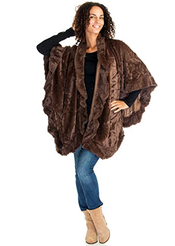 Women's Winter Faux Fur Cape Poncho Ladies Wrap Shawl