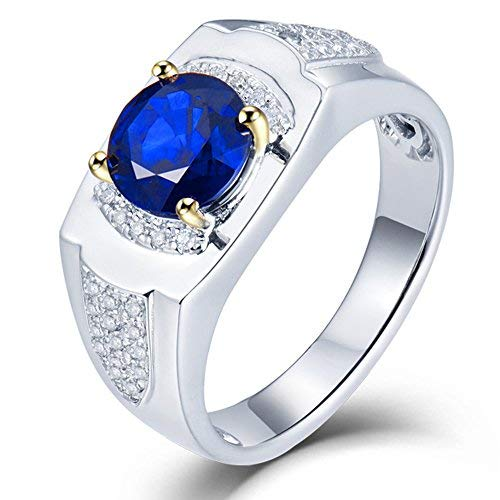 Beyond jewelry 14K White Gold Genuine Sapphire Diamond Wedding Ring for Men(Natural Sapphire Series)