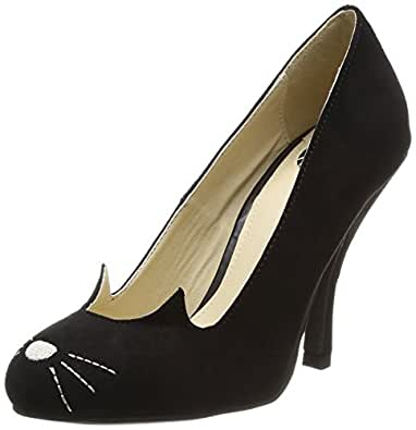 T.U.K. Women's Sophistakitty Vintage Kitty Fashion Pumps, Black Leather, Suede, 5 M