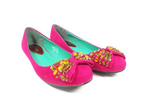Modesta Womens Fuschia Pink Rhinestone Crystal Bow Slip on Ballet Flats Shoes FJky6ib