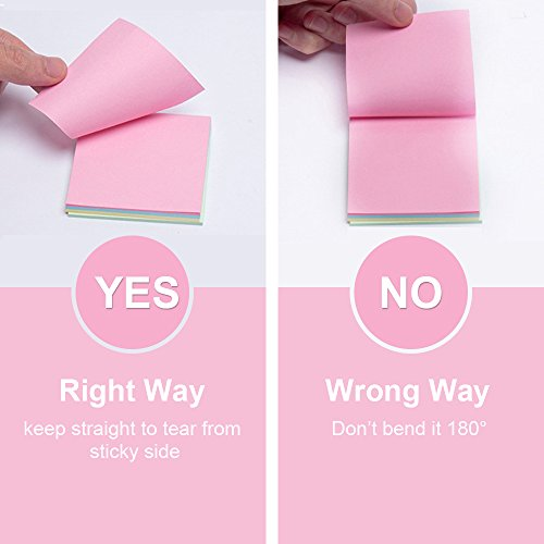 Sticky Notes 3x3 inches,100 Sheets/Pad, 12 Pads Self-Stick Notes with 6 Colours Self-Stick Notes, Easy to Post for Home, Office by BIvil (Image #3)