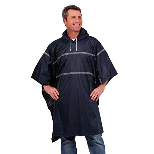 Galeton 12335-NB 12335 Repel Rainwear 0.20 mm PVC Rain Poncho with Reflective Stripes, Navy Blue, One Size