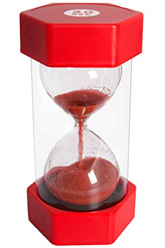 Sand Timer Hour Glass for Kids, Teachers, Therapists, Classroom, Office Desk, Kitchen, Decoration, Sensory Room. 30 Second Hourglass timers. Red. Large Size - by Playlearn USA (Hour Glass Red)