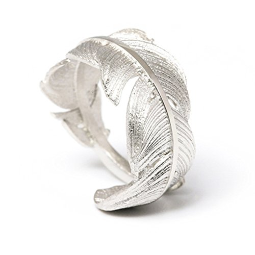 Sundayrose Feather Ring 925 Silver Vintage Plume Adjustable Opening Band Ring (Leaf Ring)