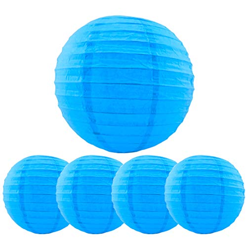 5 Packs Blue Hanging Paper Round Lanterns 10 inch Decorative for Halloween Birthday Bridal Wedding Baby Shower Parties Assorted Sizes (Blue, 10'')