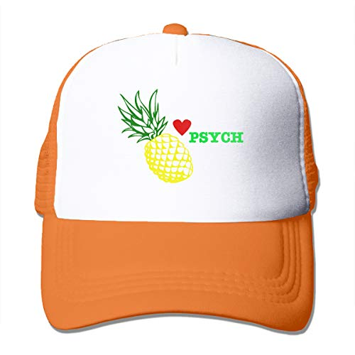 I Love Psych Pineapple Mesh Hats for Women Men, Dad Hat with Adjustable Snapback Strap Orange ()