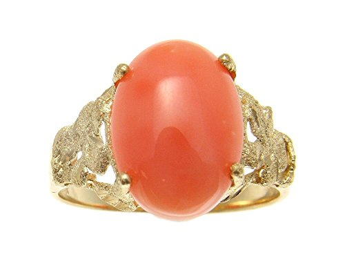 Coral Flower Pink Natural (Genuine natural pink coral ring Hawaiian plumeria flower solid 14k yellow gold size 5)