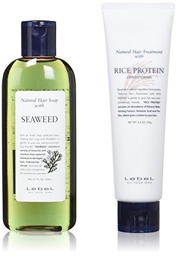 [클래식 세트] 르벨 (LebeL) 내츄럴 헤어비누  soap 위즈 SW (seaweed 240ml) & 내츄럴 헤어 트리트먼트 위드 RP (쌀 단백질 140g)