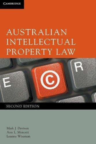 Australian Intellectual Property Law by Mark J. Davison (2012-02-06) ebook