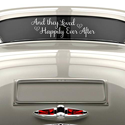 (VinylWritten, Happily Ever After Sticker, Just Married Car Decal, Wedding Window Decal, White Vinyl 30