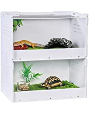 Akrylowe pudełko do hodowli gadów, dwupokładowa klatka na gady do karmienia jaszczurka gekonów pojemnik do karmienia