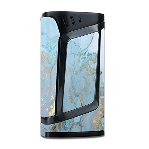 Skin Decal Vinyl Wrap for Smok Alien 220w TC Vape Mod Skins Stickers Cover / Teal Blue Gold White Marble Granite