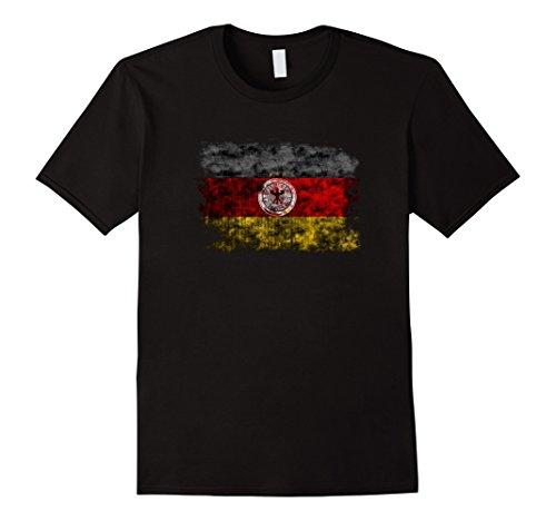 Mens GERMANY FLAG SHIRT DEUTSCHLAND DISTRESSED XL Black