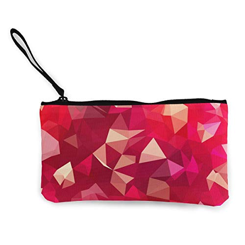 Canvas Coin Purse Lines Magenta Geometry Cosmetic Makeup Storage Wallet Clutch Purse Pencil Bag