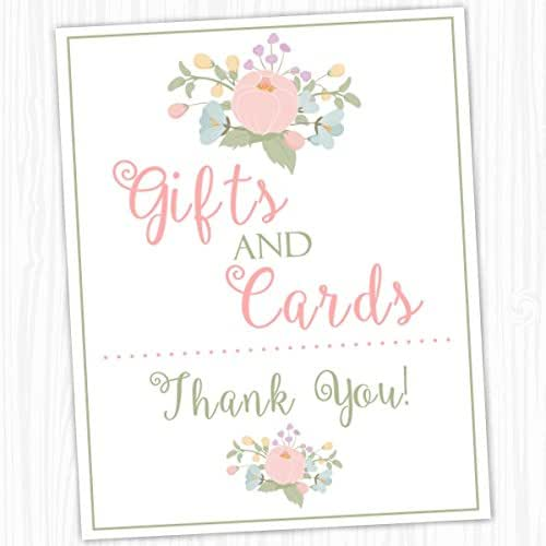 Wedding Gift Card Amazon : Amazon.com: Gifts and Cards Sign, Floral Party Sign, Wedding Shower ...