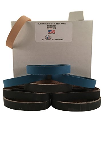 "3/4""x12'' Ultimate Belt Pack - 5 each of 8 Grits & Leather Strop Belt Made in USA by Pro Sharpening Supplies"