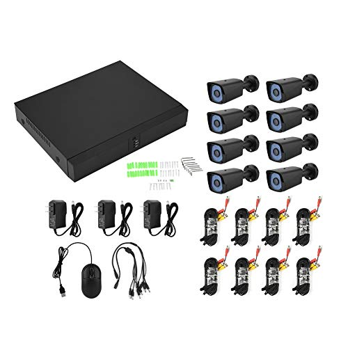 Home Security Systems 8inch AHD DVR Kit Security Camera System Security Outdoor Surveillance Video HD 200W Pixels(US)