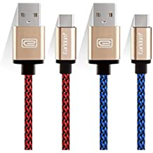 """JULAM USB Type C Cable Compatible Allview Soul X5 Pro 6.2"""" and More, 6.6ft USB A to C Charger (2-Pack) Nylon Braided Fast Charging Cord (Red+Blue)"""