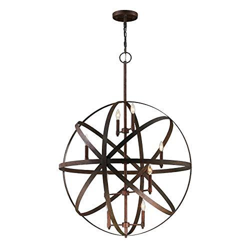- Worldwide Lighting Geo Collection 8 Light Flemish Brass Finish Orb Pendant 36