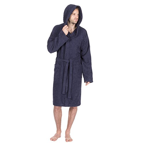 - Pierre Roche Mens 100% Cotton Terry Towelling Hooded Robe/Dressing Gown (Large, Navy)