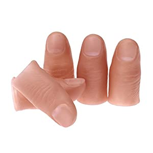 DIAOSnx 5-Piece Disappearing Silk Fake Finger Simulation Thumb Tip Magic Trick Props